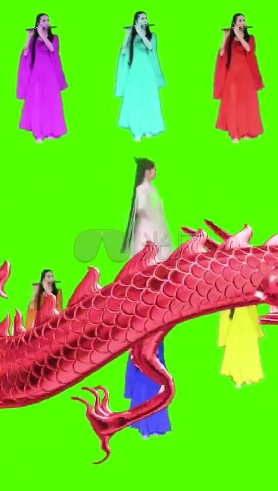 话剧吹笛姑娘古装素材美女绿布美女_544X96仙女视频网图片