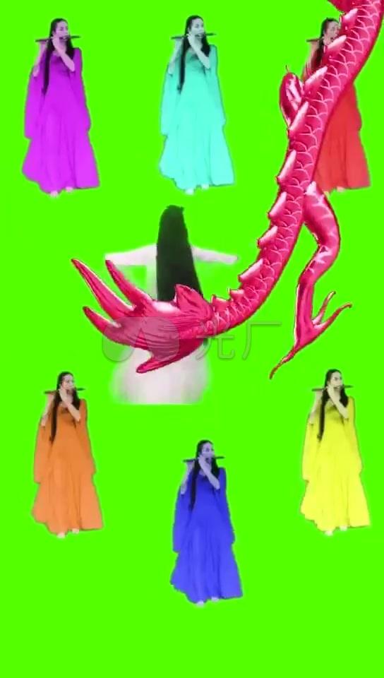 美女吹笛古装姑娘仙女素材绿布视频_544X96宝塔美女线图片