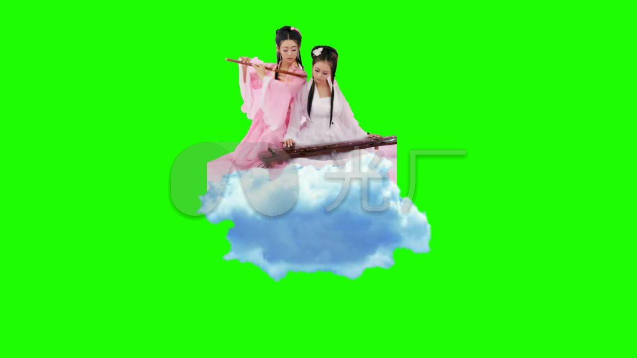 姑娘吹笛视频仙女古装素材绿布美女_1280X7全美女本地图片