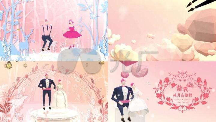 卡通爱情婚礼动画创意片头AE模板