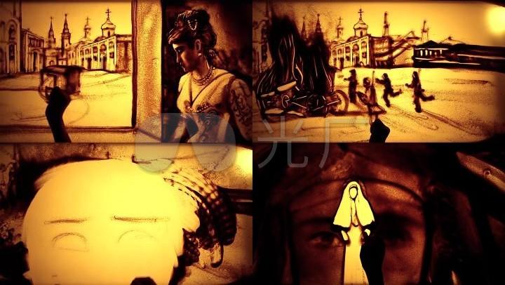 沙画欧式城堡人物画像艺术素材