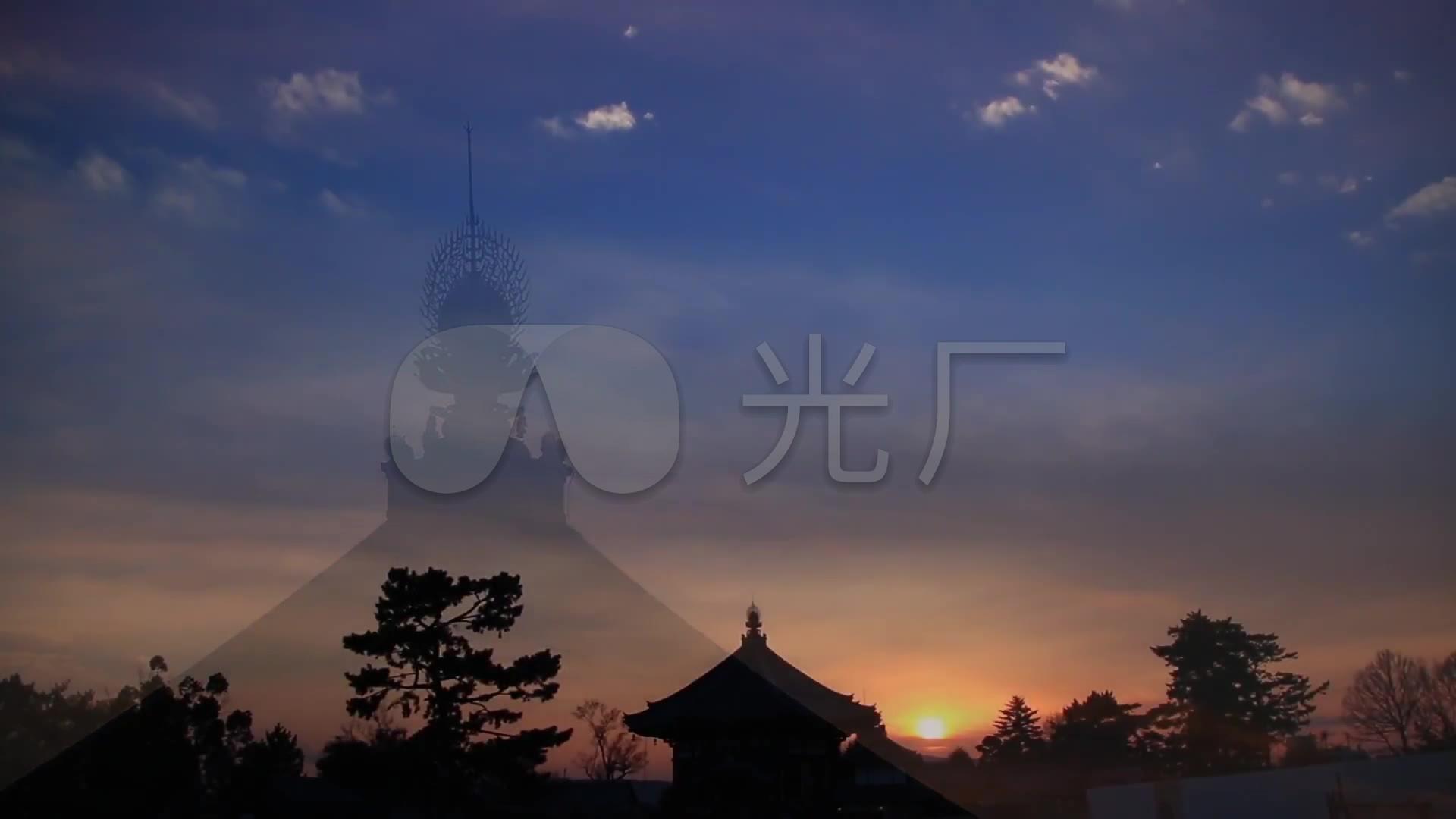 唯美寺庙佛教禅禅意古刹古建筑黄昏意境图片