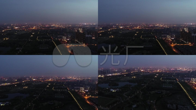 西安大明宮公園航拍素材夜景城市夜圖片