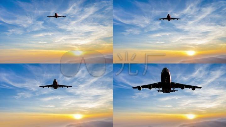 客机黄昏降落大型客机操作旅途民航_3840X2吸痰术降落步骤图片
