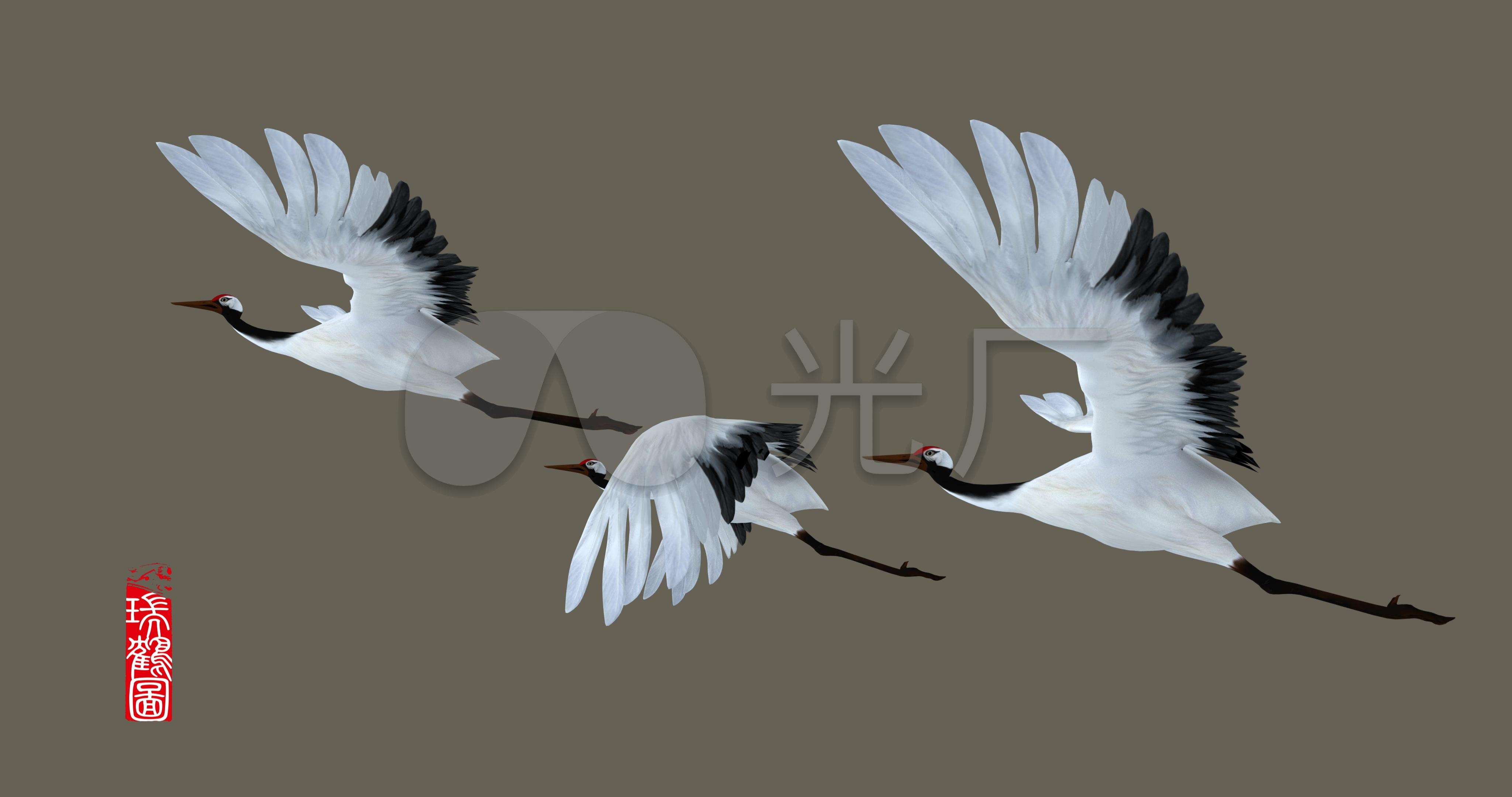 瑞鹤图中国传统绘画水墨国画4k_4096x2160_高清视频
