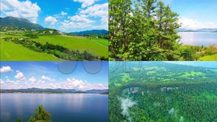 山川平原山水湖泊蓝天白云森林