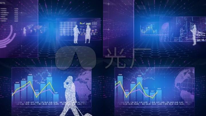 蓝色科技数据图表背景