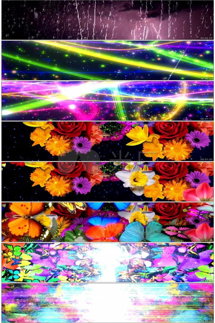 唯美梦幻全息粒子光效光线放射穿梭鲜花开放