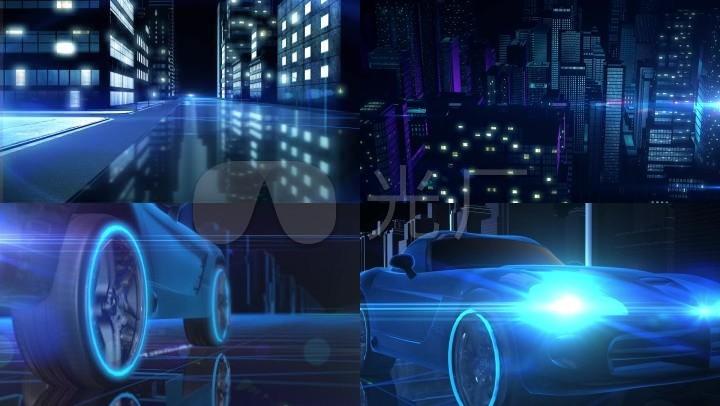 3D汽车城市建筑中行驶动画