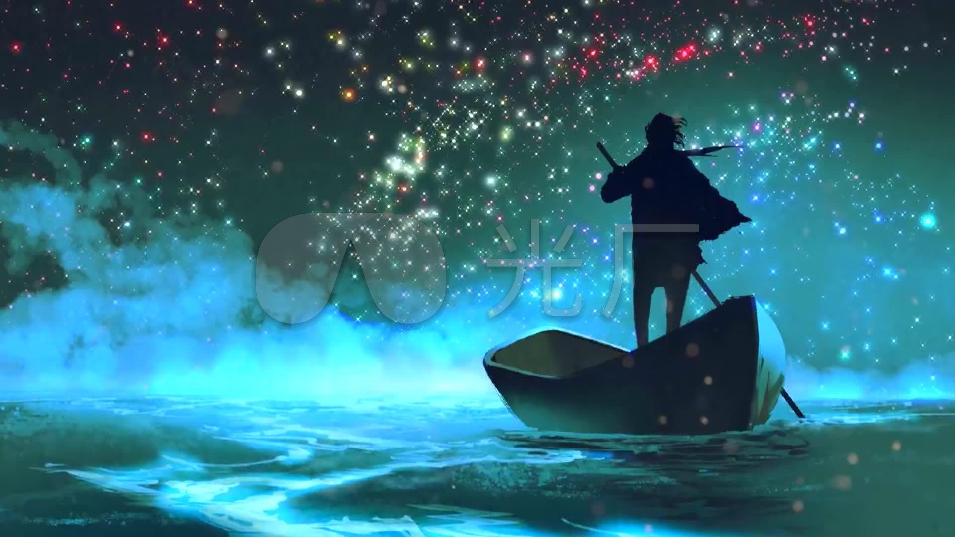 大海星空船背影-意境