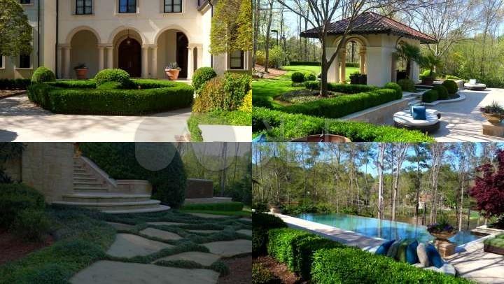 4k景观步道农村别墅游泳池草坪花园别墅庄园庭院下载设计图图片