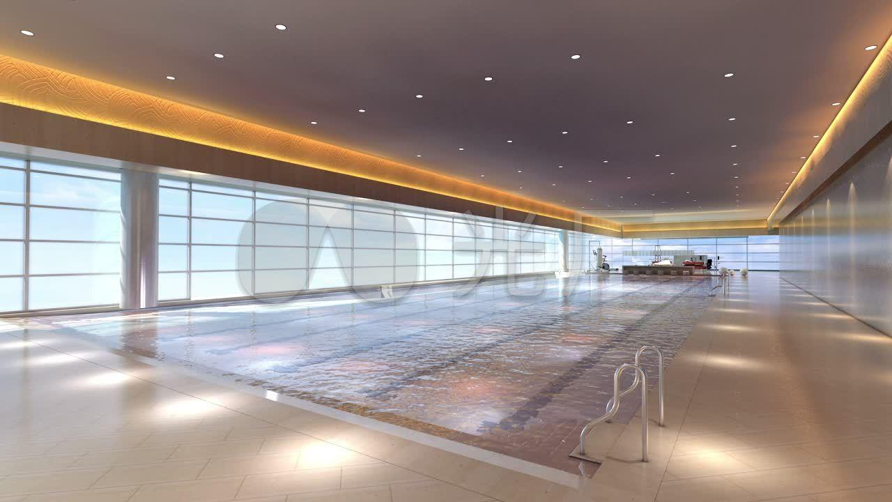 3d三维建筑动画区域小区配套游泳池v区域_128改变房产ai绘制图片