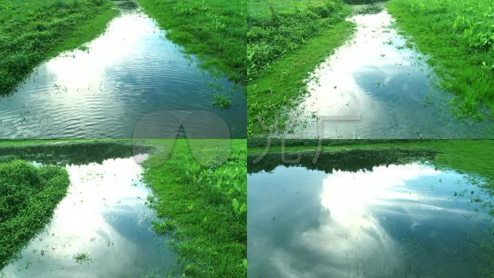 雨后 低空 航拍 飞行 河流 水面 水草 清新 大自然