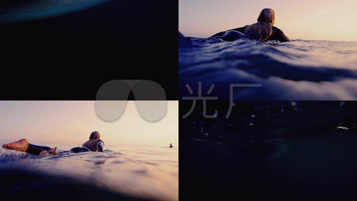 4K特工海上漂浮海上冲浪划水美女美女格斗图片