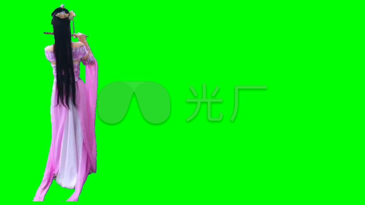 视频槐树吹笛视频绿屏抠像美女_1280X720_高古装素材洋图片