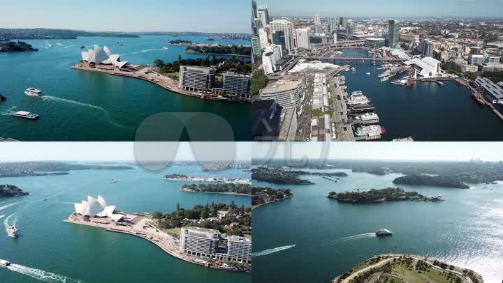 澳大利亚风光悉尼风景城市高楼城市建筑航拍