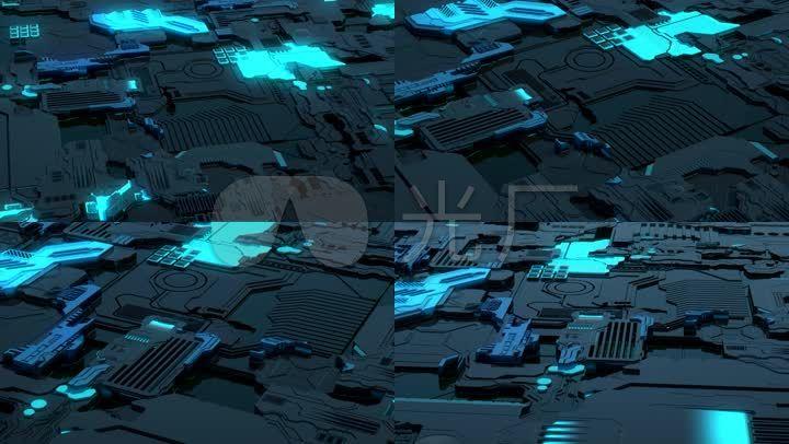 原创三维科幻科技电路板芯片