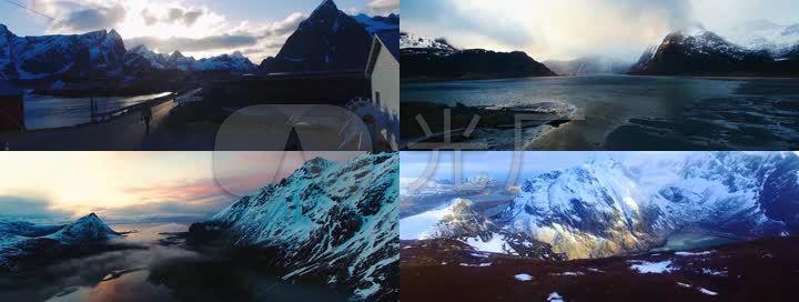 4K挪威大雪山壮观大自然