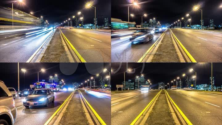 城市夜景马路车流延时摄影图片