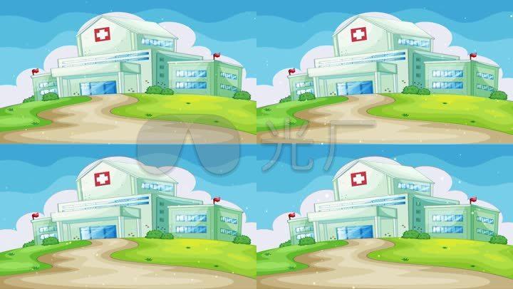 医院背景卡通场景图片
