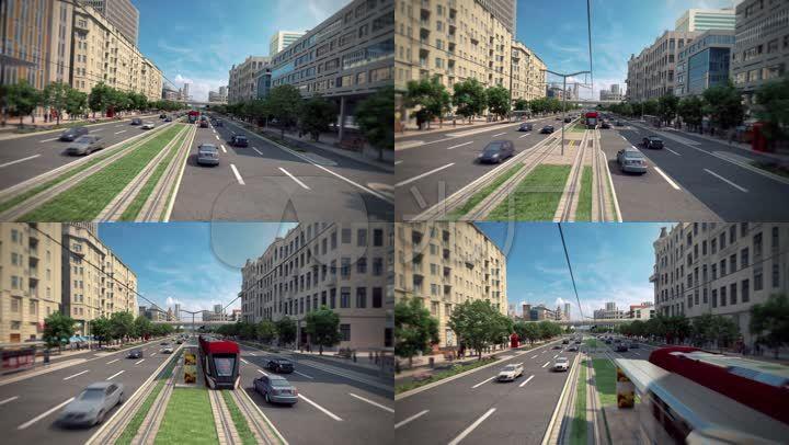 3d动画城市电车城市轻轨