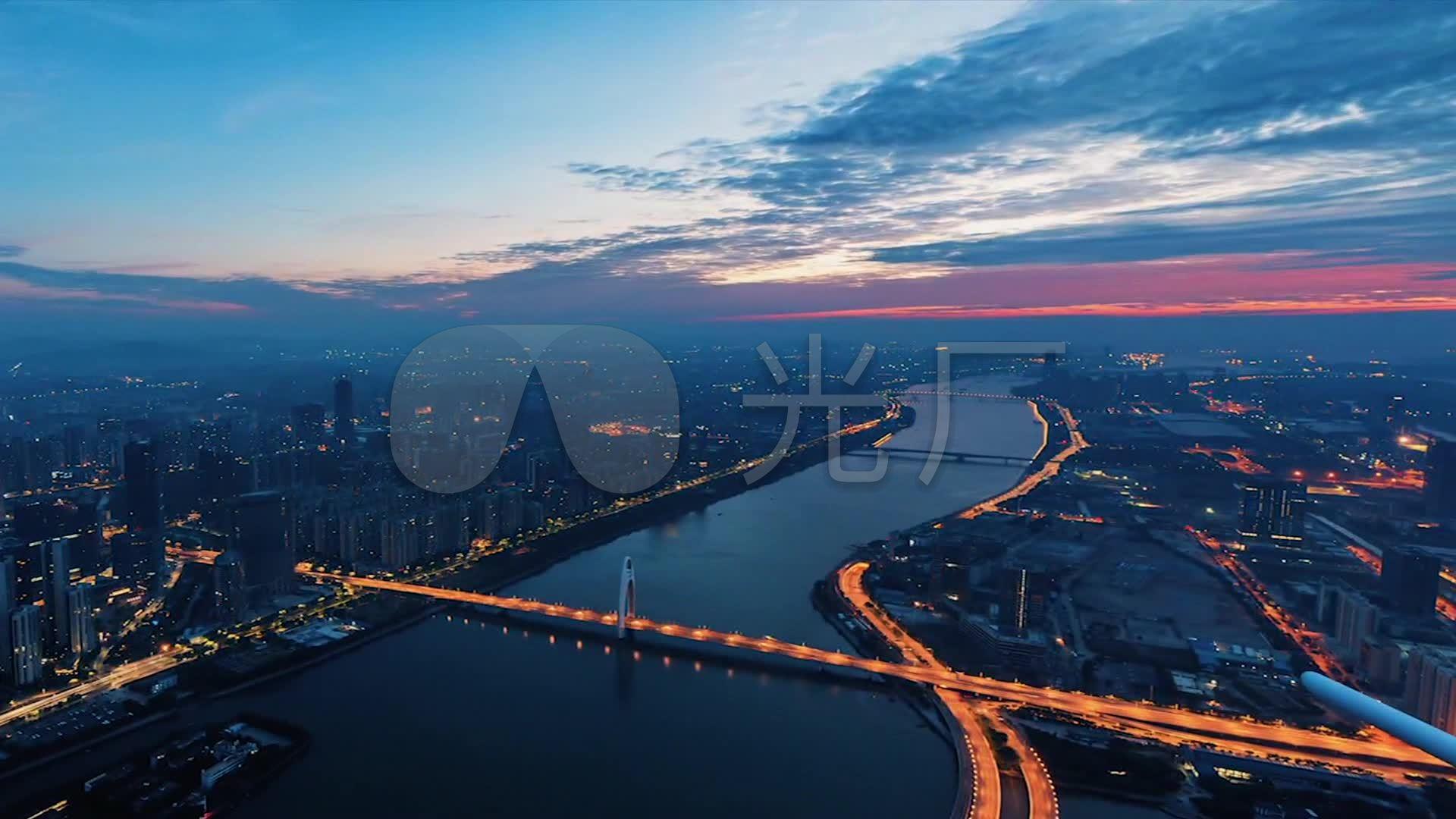 广州塔 延时摄影 日出 珠江 夜景 灯光 车流 航拍