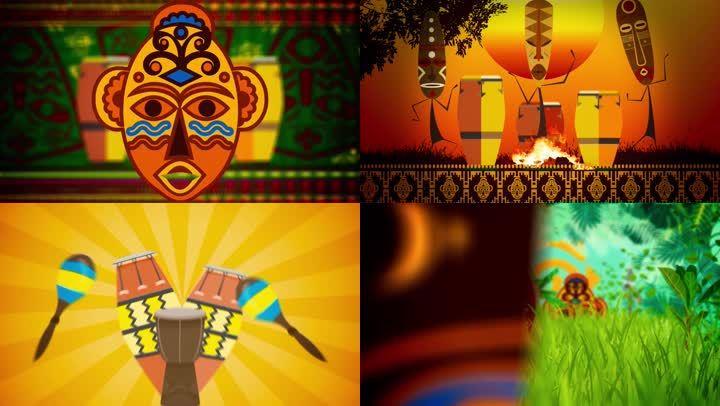 非洲鼓非洲舞蹈动感背景素材图片