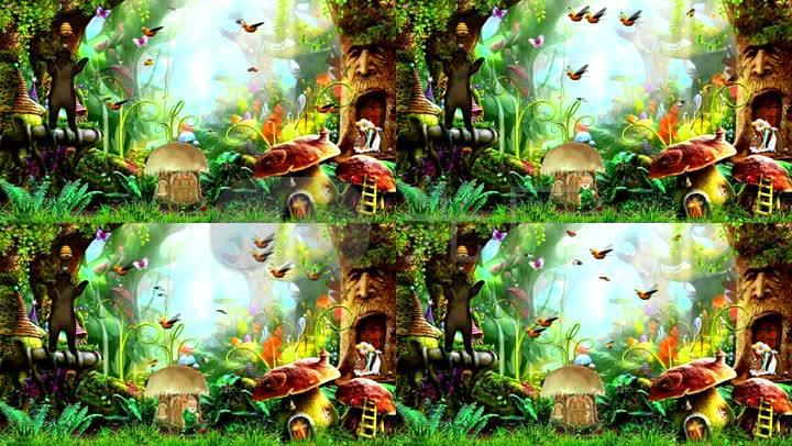 森林飞鸟花草树木蘑菇动物王国童话儿童少儿儿童节背景六一led大屏图片