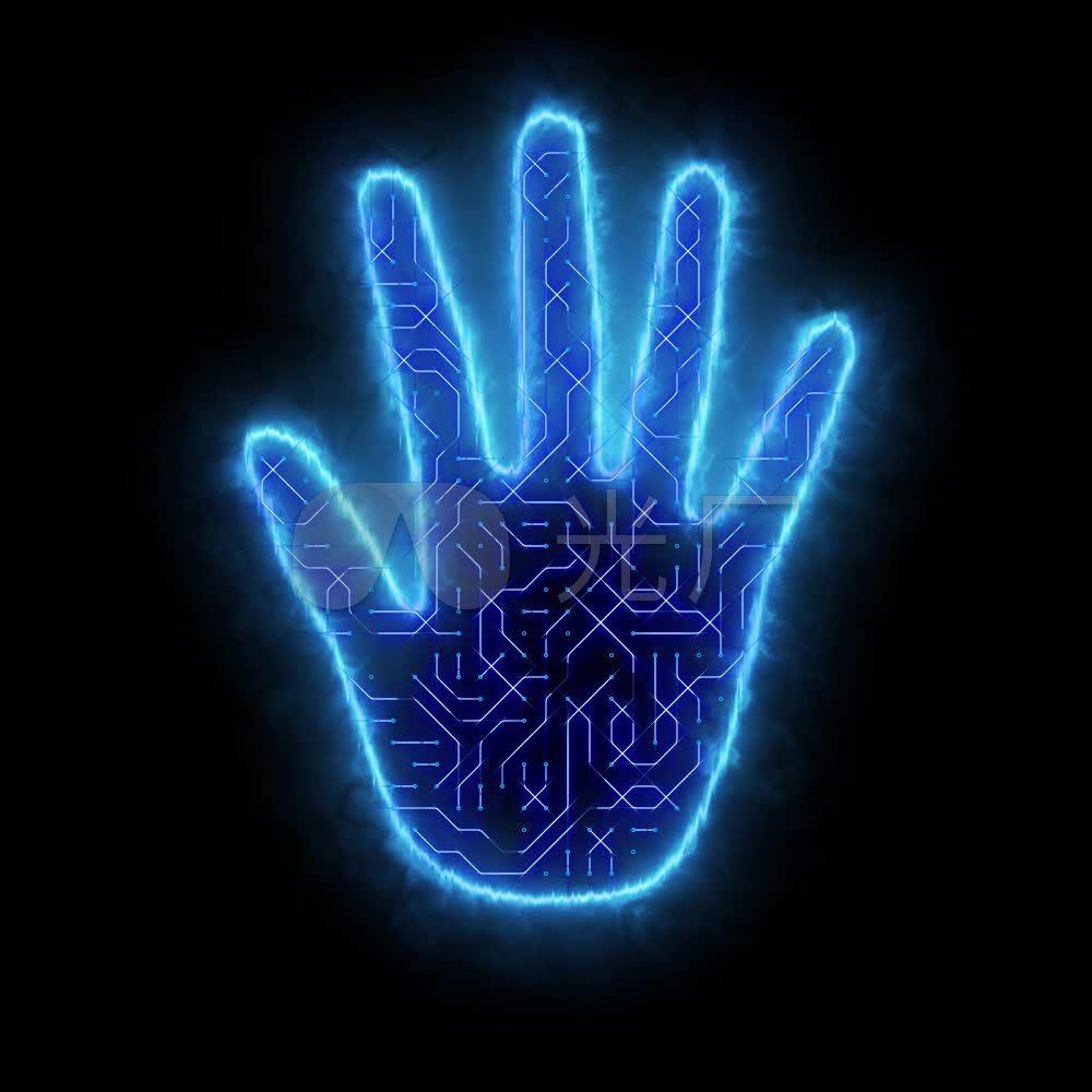 启动仪式蓝色科技电路板手掌按钮循环