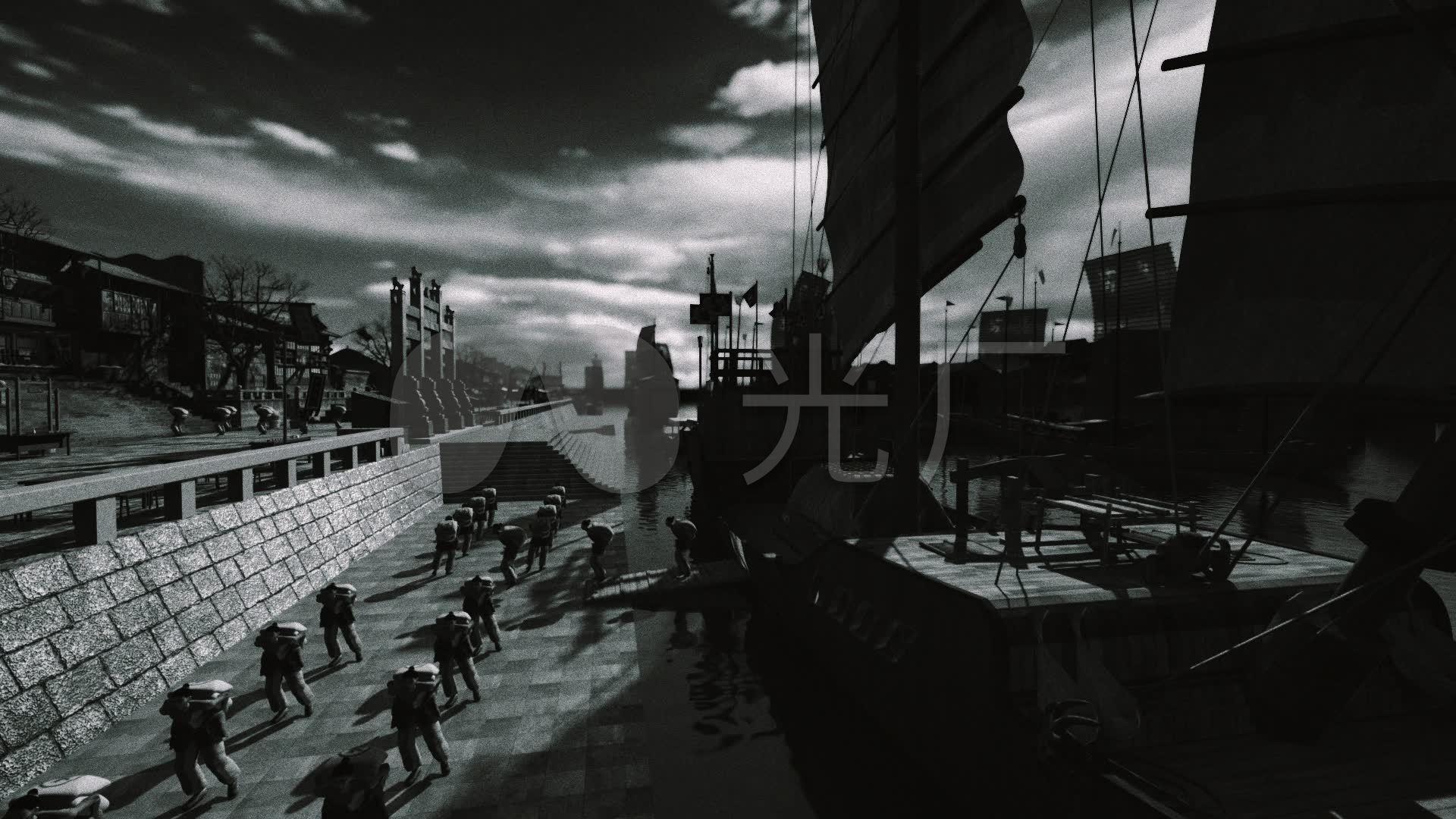 古代漕运繁华渡口码头搬运工船队动画