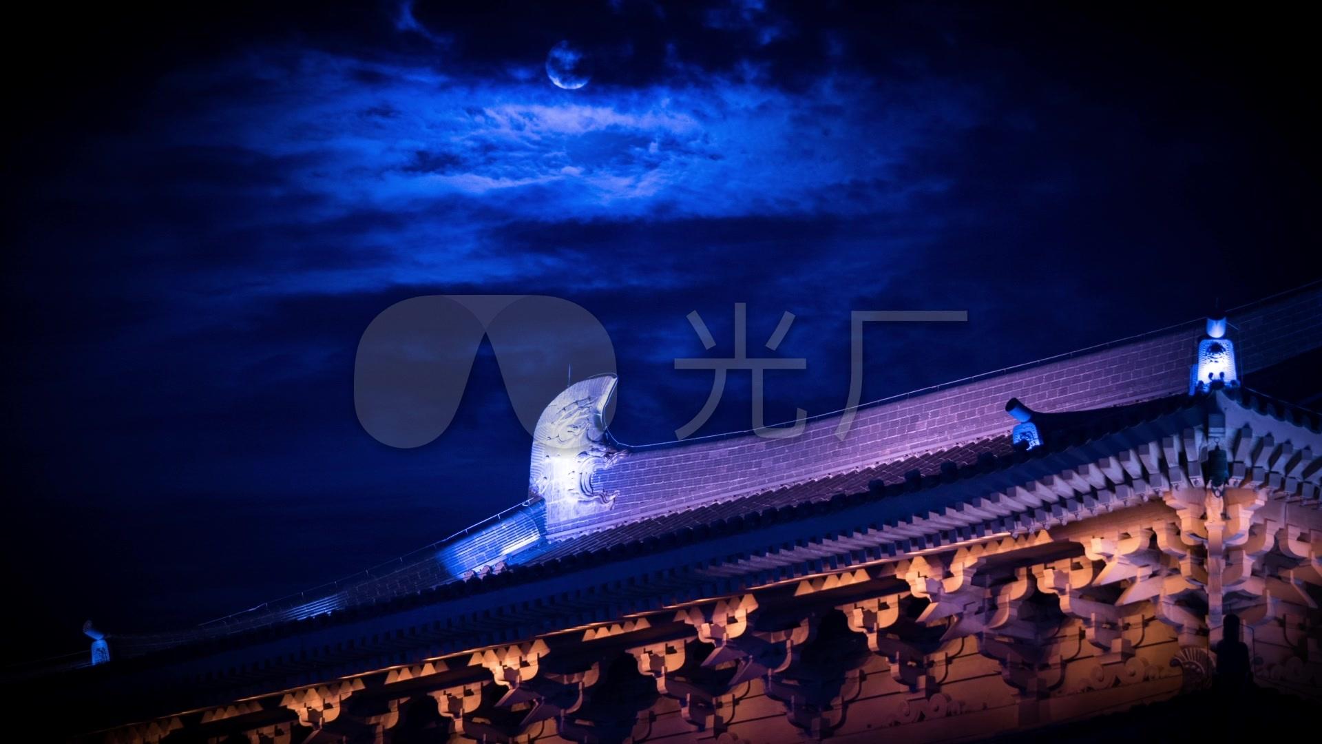 絕美大明宮唐朝西安月亮古建筑樓頂延時圖片