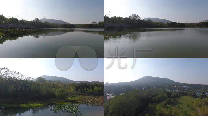 大蜀山湖景航拍风景人工湖安徽风景