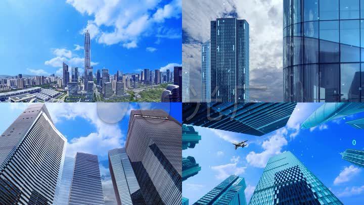 仰视高楼大厦风云涌动实拍商业办公楼素材