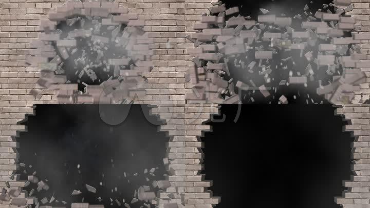 破碎墙壁视频素材破墙而出