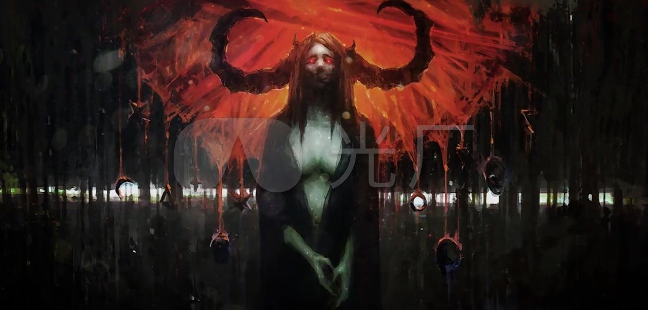 万圣节恐怖气氛地狱恶魔魔鬼撒旦血腥背景