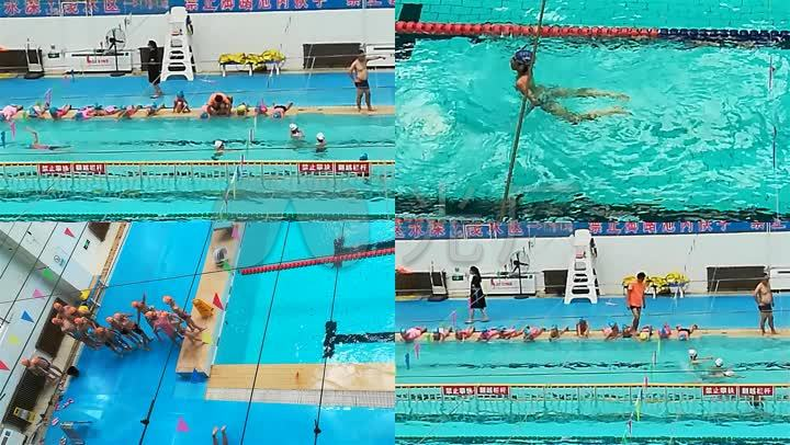 原创小学生学训练游泳小学视频_1920X1080_湖中心素材许家图片