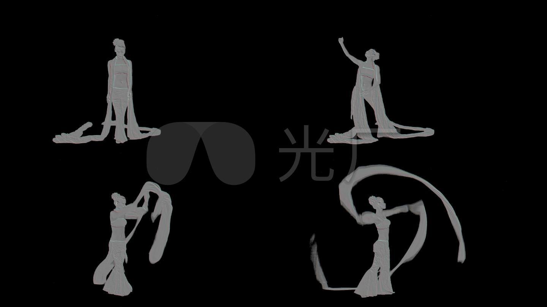 浮雕艺术雕刻长绸舞剪影舞蹈嫦娥舞蹈绸缎舞影子舞透明背景绿屏抠像图片