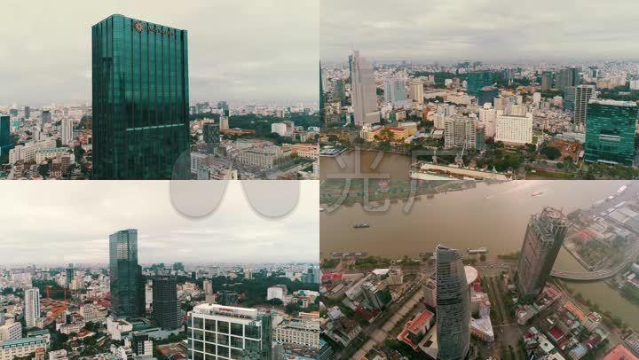 航拍越南胡志明市西贡市区楼宇沿岸大厦街道