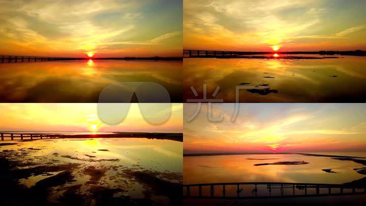 夕阳晚霞中的黄河大桥4k航拍