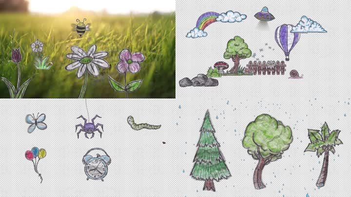 卡通可爱纸片qq怎么弄指定红包植物物品透明通道视频素材