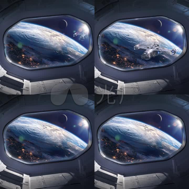 太空舱舱内飞船航天飞机太空地球舱宇宙外太空飞船接近飞来大气层