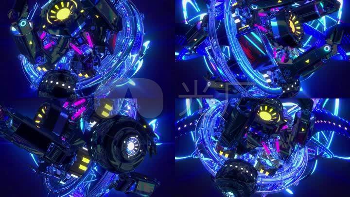 机械风格冷色反光酷炫酒吧夜店舞蹈大屏