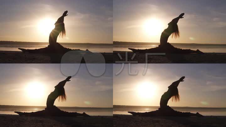 做瑜伽唯美夕陽逆光圖片