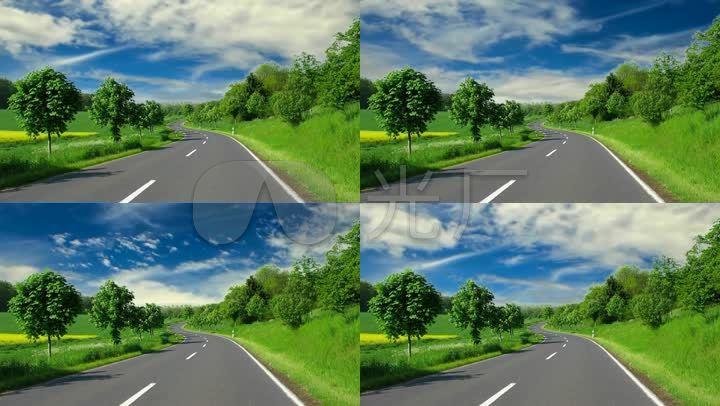 马路风景路边绿树草地蓝天白云背景