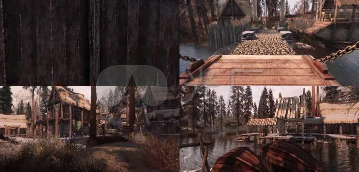3d古代小镇木屋茅草屋小桥流水森林吊桥图片