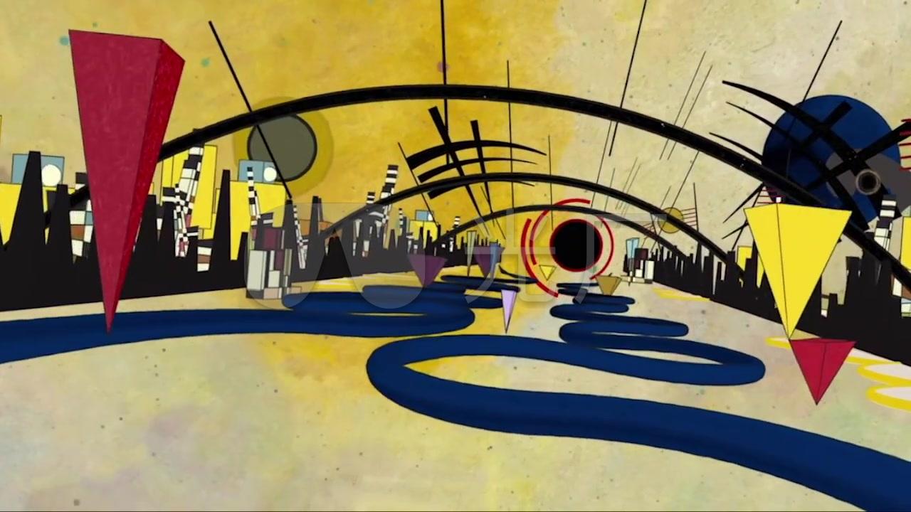 抽象涂鸦几何空间音乐背景酒吧vj动感背景