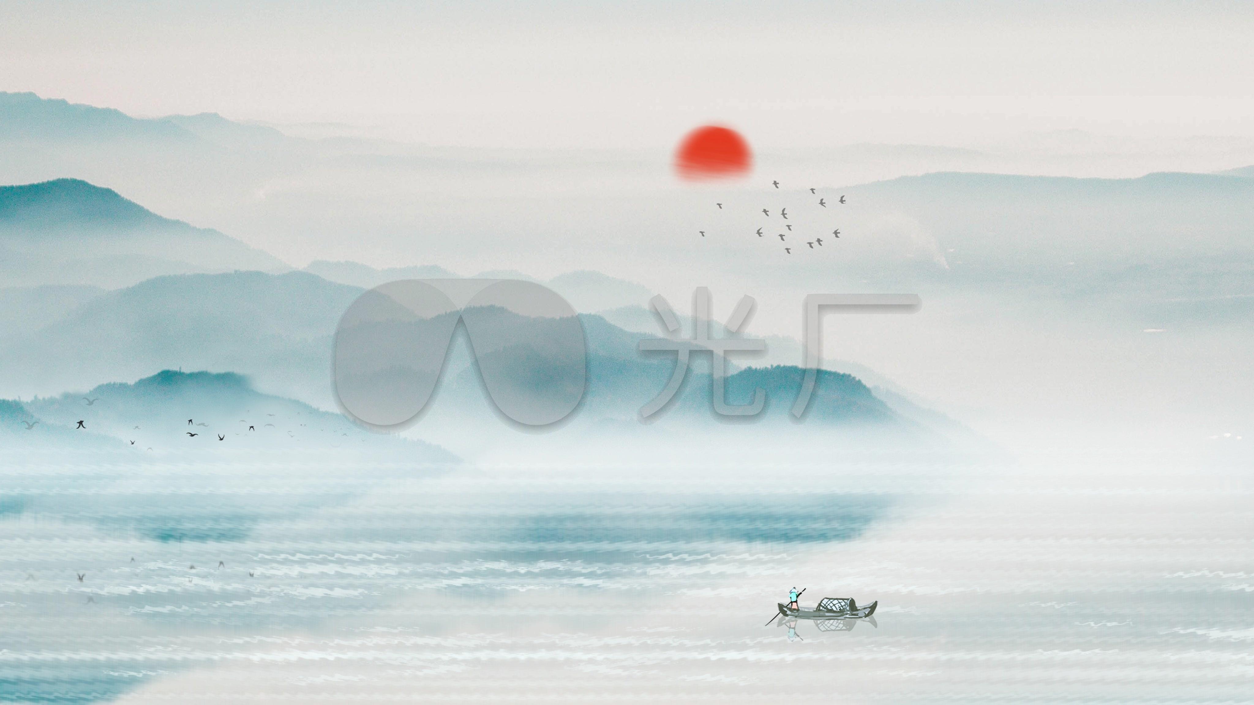 4K山水水墨中背景国风视频B_4096X2304_高爱爱小视频图片
