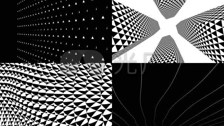 炫酷黑白抽象幾何空間酒吧vj投影背景