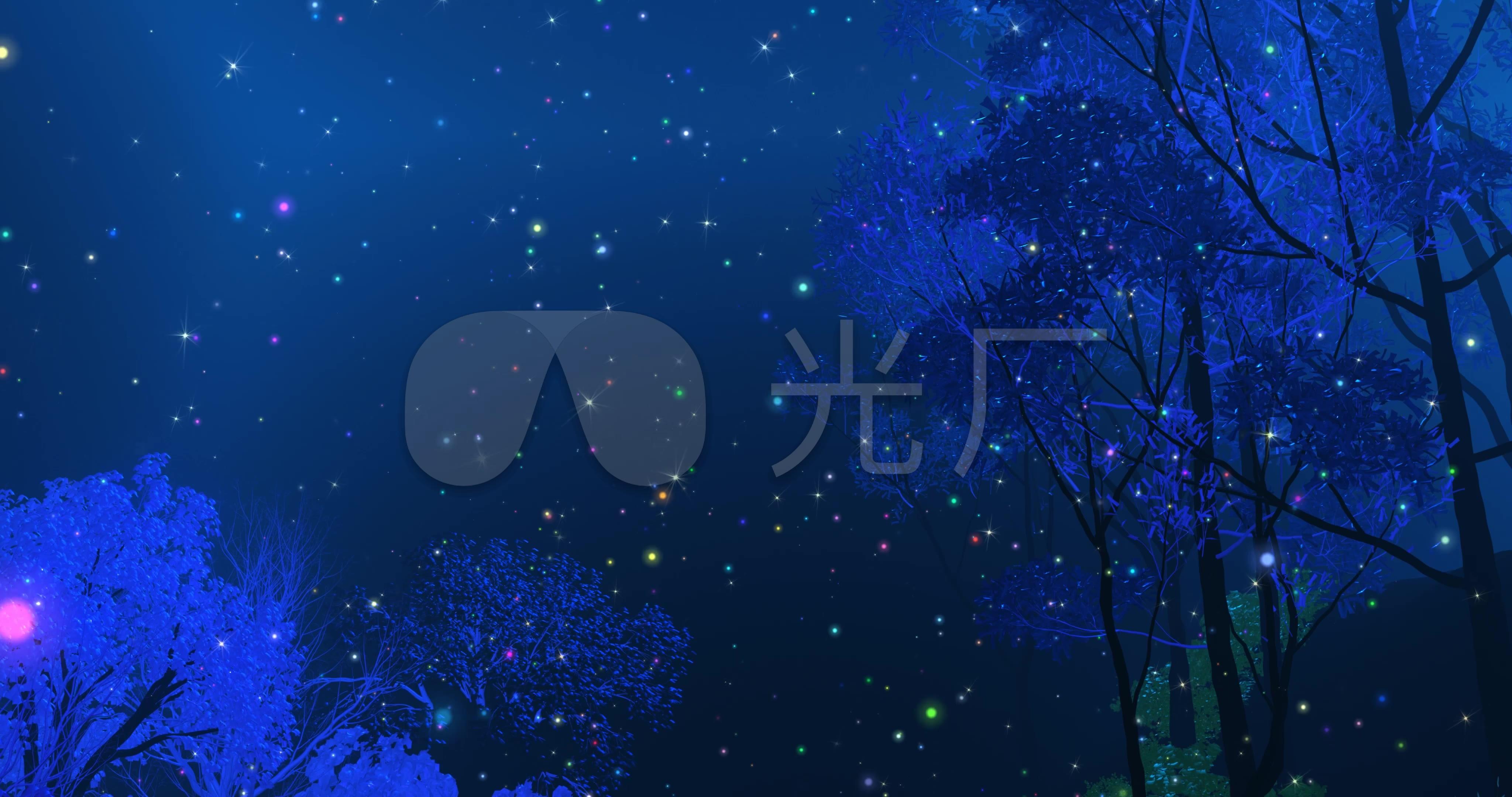 4k梦幻夜景森林深处led背景图片