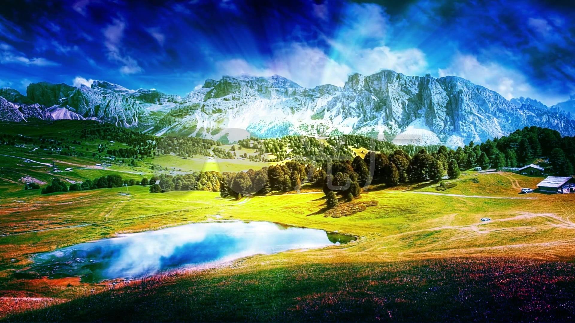 背景视频自然风光视频_1920X1080_草原高清雪山采茶纪图片